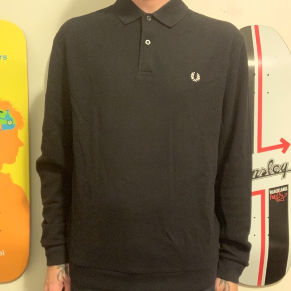 Fred Perry Other - NWT Navy Fred Perry Textured LS Polo Size Large